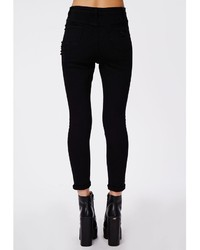 Missguided Edie High Waist Extreme Ripped Skinny Jeans In Black