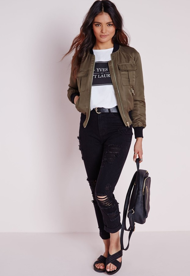 f197585127 Missguided Slim Fit Extreme Rip Mom Jean Black, $60 | Missguided ...