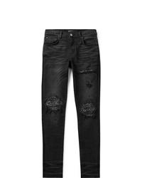Amiri Mx1 Skinny Fit Panelled Distressed Stretch Denim Jeans