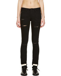 Off White Black Distressed Skinny Jeans