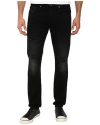 7 For All Mankind Paxtyn Skinny W Clean Pocket In Destroyed Black