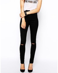 Asos Petite Ridley High Waist Ultra Skinny Jeans In Clean Black ...