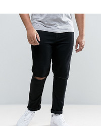 Asos Plus Super Skinny Jeans With Knee Rips