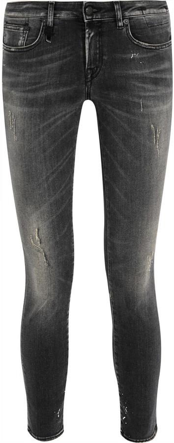 R 13 R13 Kate Distressed Low Rise Skinny Jeans Black