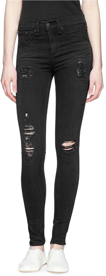 Rag and Bone Rag Bonejean High Rise Distressed Skinny Leggings ...