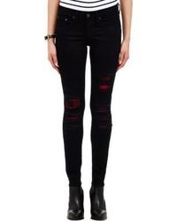 Rag and Bone Rag Bone Plaid Inset Skinny Jeans