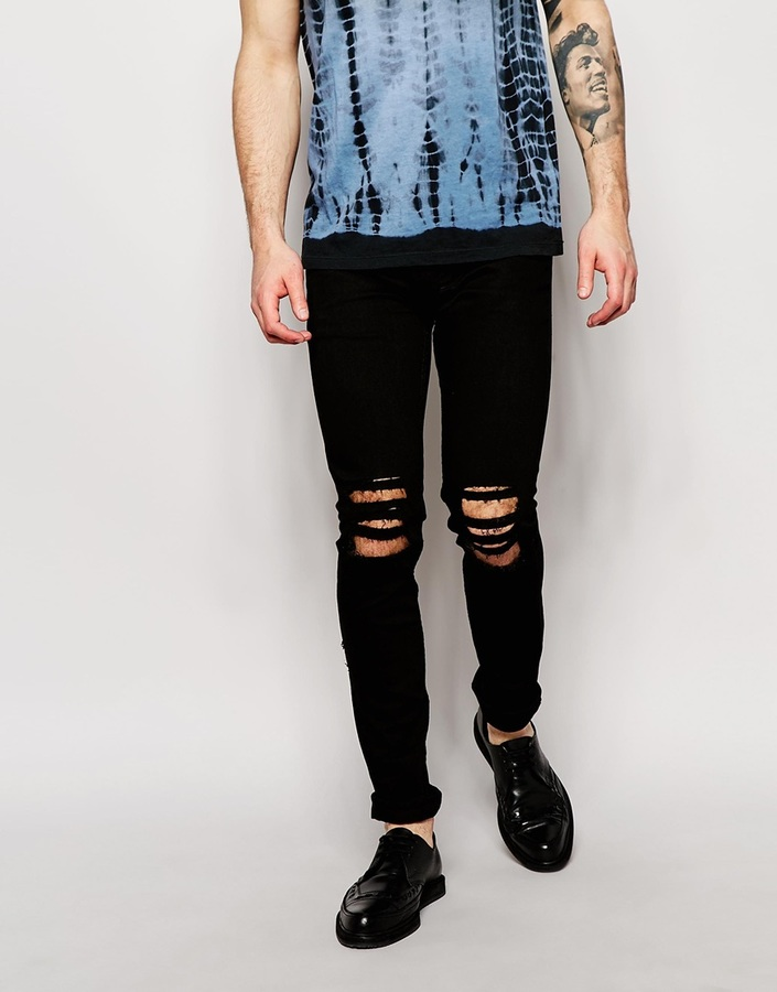 Religion Noize Skinny Fit Black Jeans With Cut Outs | Where to buy