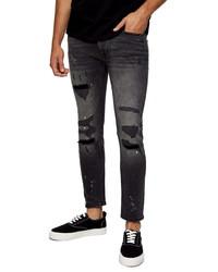 Topman Rip Repair Skinny Jeans