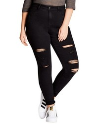 City Chic Rock N Roll Destroyed Skinny Jeans