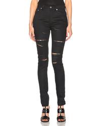 Saint Laurent Skinny 5 Pocket High Waist Destroyed Jean
