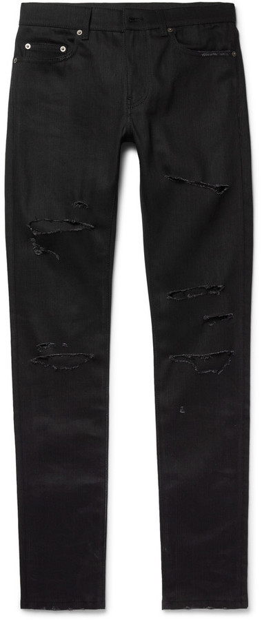 Dire la verità evitare Cellula somatica  Saint Laurent Skinny Fit 15cm Hem Distressed Stretch Denim Jeans, $890 | MR  PORTER | Lookastic