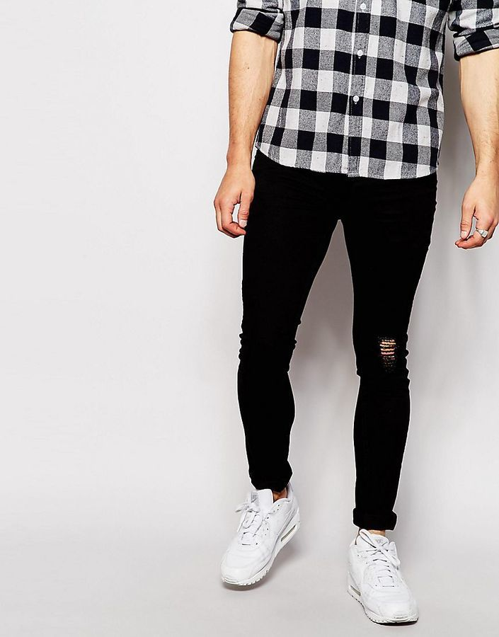 64a360b1e ... Black Ripped Skinny Jeans Antioch Super Skinny Jeans With Knee Rip ...