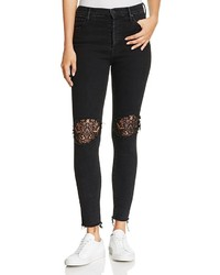 Mother Super Stunner Lace Inset Ankle Jeans In Black Sheep
