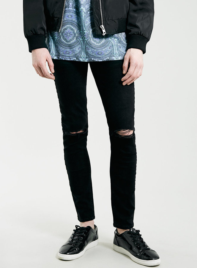 Topman Black Ripped Knee Stretch Skinny Fit Jeans | Where to buy ...