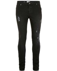 Topman Washed Black Distressed Stretch Skinny Jeans
