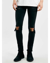 Topman Washed Black Rip Stretch Skinny Jeans