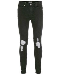 Topman Washed Black Ripped Spray On Skinny Jeans