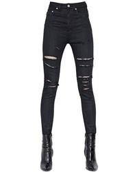 Saint Laurent Tulle Destroyed Cotton Denim Jeans