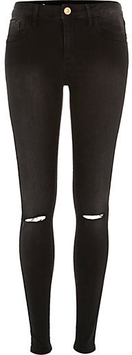 River Island Washed Black Amelie Ripped Superskinny Jeans