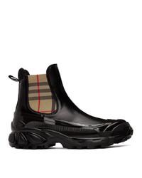 Burberry Black Canvas Chelsea Boots
