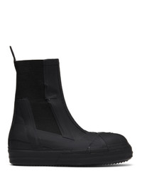 Rick Owens Black Rubber Bozo Chelsea Boots