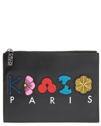 Kenzo Rubber Logo Leather Pouch