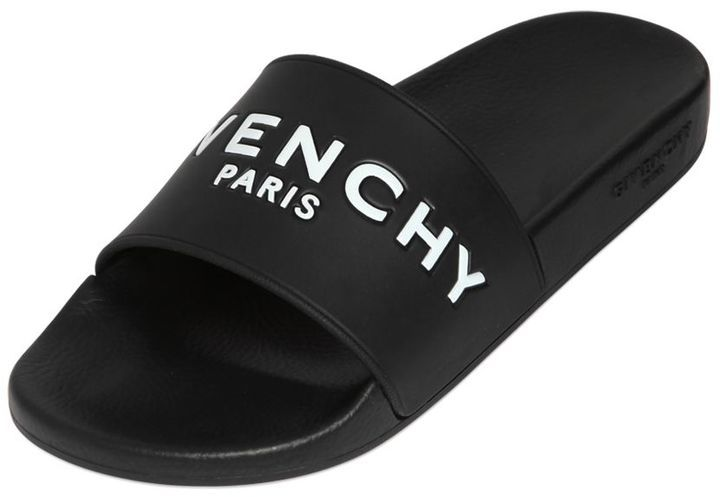 cca8bc6f $295, Givenchy Rubber Logo Embossed Slide Sandals