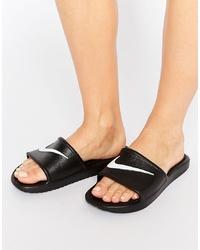 Nike Kawa Swoosh Sliders Sandals In Black