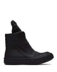 Rick Owens Black Rubber Geobasket High Top Sneakers