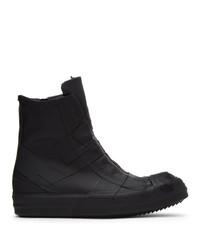 Rick Owens Black Rubber Performa High Top Sneakers