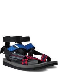 Prada Leather Webbing And Rubber Sandals