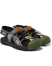 Gucci Logo Detailed Rubber Leather And Mesh Sandals