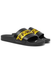Off-White Logo Webbing Trimmed Leather Slides