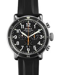 48mm runwell sport chronograph watch with rubber strap black medium 599987