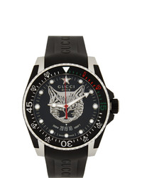Gucci Black And Silver Feline Dive Watch