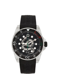 Gucci Black And Silver Snake Dive Watch