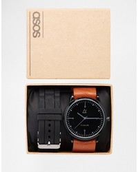 Asos Brand Sleek Interchangeable Watch With Rubber Strap