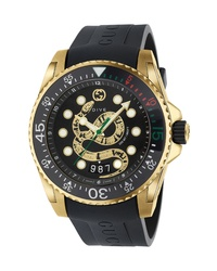 Gucci Dive Snake Rubber Strap Watch