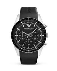 Emporio Armani Black Rubber Strap Watch 46mm
