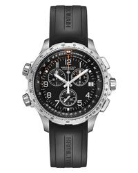 Hamilton Khaki Aviation X Wind Chronograph Gmt Silicone Strap Watch