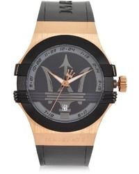 Kenzo Maserati Potenza Rose Goldblack Rubber Strap Watch