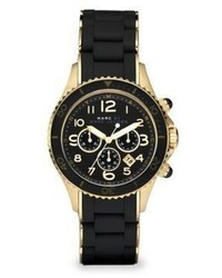 Marc by Marc Jacobs Pelly Rose Goldtone Ip Stainless Steel Silicone Chronograph Bracelet Watchblack
