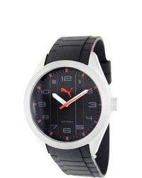 Puma Pace Black Rubber Strap Black Dial Watch
