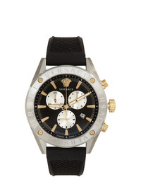 Versace Silver And Black V Chrono Watch