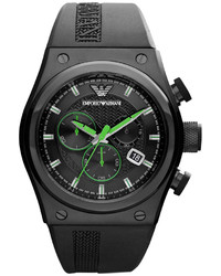 Emporio Armani Watch Chronograph Black Rubber Strap 48x44mm Ar6106