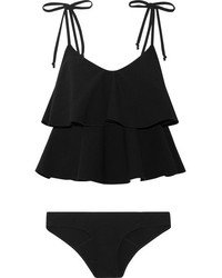 Lisa Marie Fernandez Imaan Ruffled Stretch Crepe Bikini Black