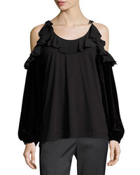 No.21 No 21 Tosca Cold Shoulder Top W Ruffled Trim