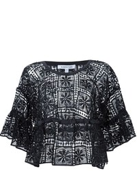 Elizabeth and James Ruffled Sleeve Embroidered Top