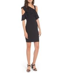Ruffle one shoulder body con dress medium 5169825
