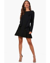 Boohoo Leah Ruffle Hem And Front Long Sleeve Dress